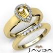 U Prong Diamond Engagement Semi Mount Ring Pear Bridal Set 14k Yellow Gold 0.43Ct - javda.com