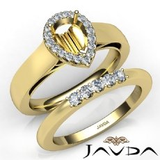 U Prong Diamond Engagement Semi Mount Ring Pear Bridal Set 14k Gold Yellow  (0.43Ct. tw.)