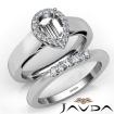 U Prong Diamond Engagement Semi Mount Ring Pear Bridal Set 14k White Gold 0.43Ct - javda.com