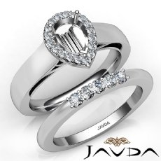U Prong Diamond Engagement Semi Mount Ring Pear Bridal Set Platinum 950  (0.43Ct. tw.)