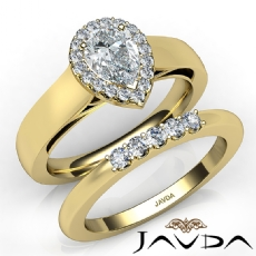 U Cut Pave Set Halo Bridal Pear diamond engagement Ring in 14k Gold Yellow