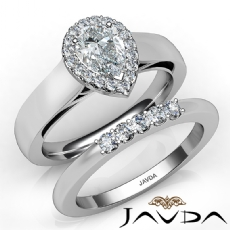 U Cut Pave Set Halo Bridal Pear diamond engagement Ring in 14k Gold White