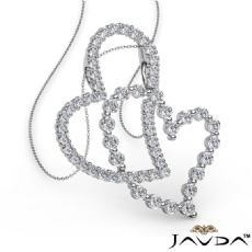 Twin Intersecting Heart Pendant Necklace 14k White Gold 0.80Ct Round Diamond