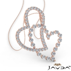 Twin Intersecting Heart Pendant Necklace 14k Rose Gold  Round Diamond (0.8Ct. tw.)