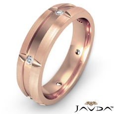 Bezel Diamond Brushed Beveled Edge Men's Wedding Band 14k Rose Gold  (0.15Ct. tw.)