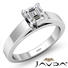 Flat Edge Cathedral Solitaire Asscher diamond  Ring in 14k Gold White