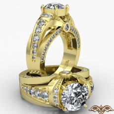 Knot Style Bridge Accent diamond Ring 14k Gold Yellow