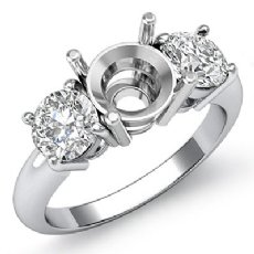 Round Diamond Semi Mount Three 3 Stone Engagement Ring Platinum 950 Setting  (0.75Ct. tw.)