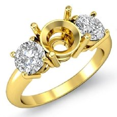 Round Diamond Semi Mount Three 3 Stone Engagement Ring 18k Gold Yellow Setting  (0.75Ct. tw.)