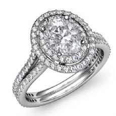 Double Halo Micro Pave Set Oval diamond engagement Ring in 14k Gold White