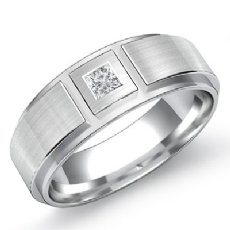 Bezel Solitaire Princess Diamond Men's Half Wedding Band 14k White Gold 0.15 Ct