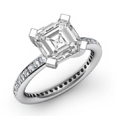 Classic 4 Prong Sidestone Asscher diamond engagement Ring in 14k Gold White