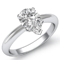 Knife Edge 6 Prong Solitaire Pear diamond engagement Ring in 14k Gold White