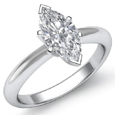 Knife Edge 6 Prong Solitaire Marquise diamond engagement Ring in 14k Gold White