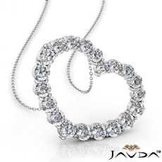 1 Ct Round Diamond Heart Pendant 16 inch 14k White Gold
