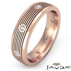 Round Bezel Diamond Ridged style Men's Wedding Band 18k Rose Gold  (0.16Ct. tw.)