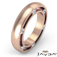 Men's Bezel Round Side Diamond Eternity Dome Wedding Band 18k Rose Gold  (0.25Ct. tw.)