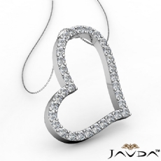 Round Diamond Hollow Heart Pendant 18k Gold White  (0.99Ct. tw.)