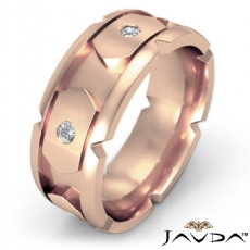 14k Rose Gold Men's Round Bezel Set Diamond Eternity Wedding Band  (0.4Ct. tw.)