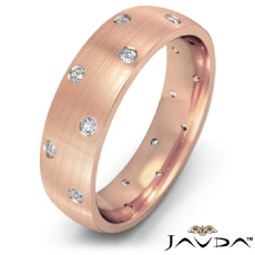 Bezel Diamond Matte Eternity Men's Wedding Band in 14k Rose Gold  (0.2Ct. tw.)