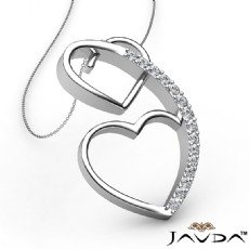 Round Diamond Heart Pendant 18k Gold White  (0.21Ct. tw.)
