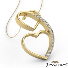 Round Diamond Heart Pendant 14k Gold Yellow  (0.21Ct. tw.)