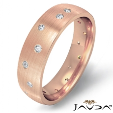 Men's Gypsy Set Diamond Matte Eternity Wedding Band in 18k Rose Gold  (0.25Ct. tw.)