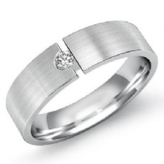 Matte Finished Solitaire Diamond Men's Half Wedding Band 14k White Gold 0.10 Ct