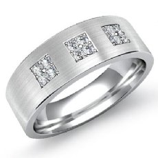 Matte 3 Square Set Round Diamond Men's Half Wedding Band 14k White Gold 0.25 Ct