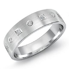 0.40 Ct Round & Princess Diamond Men's Half Matte Wedding Band 14k White Gold