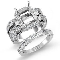 3.2Ct Diamond Engagement Ring Radiant Bridal Setting 14k White Gold Wedding Band