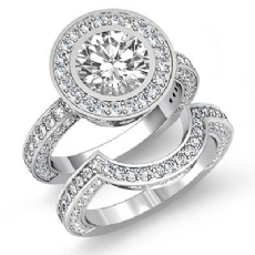 Designer Bezel Bridal Set Round diamond engagement Ring in 14k Gold White