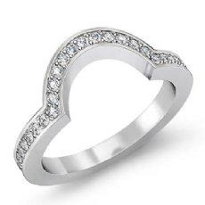 Women Half Wedding Band Round Pave Diamond Matching Set Ring 14k White Gold 1Ct