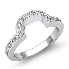 Round Pave Diamond Women's Half Wedding Band 2.4mm Ring 14k White Gold 0.45Ct
