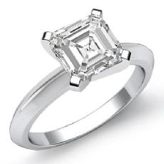 Knife Edge Solitaire Asscher diamond  Ring in 14k Gold White