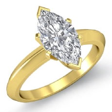 Knife Edge Solitaire Marquise diamond  Ring in 14k Gold Yellow