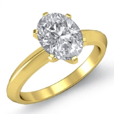 Knife Edge Solitaire Oval diamond  Ring in 18k Gold Yellow