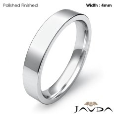Platinum 950 Flat Pipe Cut Comfort Fit Band Men Wedding Ring 4mm 6.6g 4