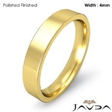 18k Gold Yellow Flat Pipe Cut Comfort Fit Band Men Wedding Ring 4mm 5g 4