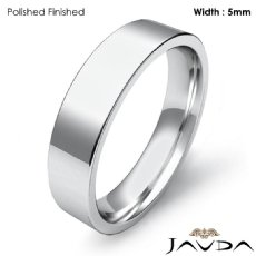 5mm 14k White Gold Comfort Fit Men Wedding Band Flat Pipe Cut Ring 5.1g 4sz