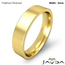 5mm 18k Gold Yellow Comfort Fit Men Wedding Band Flat Pipe Cut Ring 6.1g 4