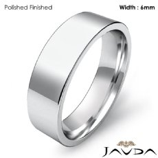 6mm Men Comfort Fit Flat Pipe Cut Wedding Band Ring Platinum 950 9.8g 4