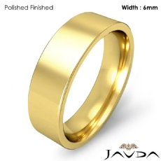 6mm Men Comfort Fit Flat Pipe Cut Wedding Band Ring 18k Gold Yellow 7.3g 4