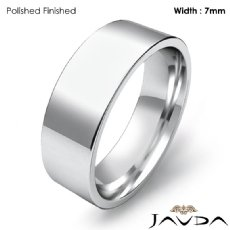 Men Wedding Band Comfort Fit Flat Pipe Cut Ring 7mm 14k White Gold 7g 4sz