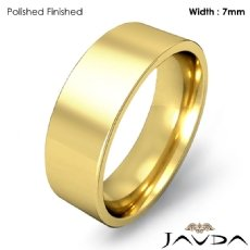 Men Wedding Band Comfort Fit Flat Pipe Cut Ring 7mm 18k Gold Yellow 8.3g 4