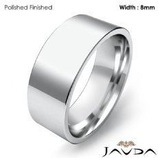 8mm Men Wedding Band Comfort fit Flat Pipe Cut Ring 14k White Gold 8g 4sz