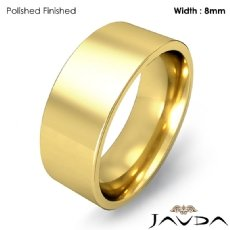 8mm Men Wedding Band Comfort fit Flat Pipe Cut Ring 18k Gold Yellow 9.5g 4