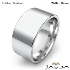 Comfort Flat Pipe Cut Ring Mens Wedding Band 10mm 14k White Gold 10g 4sz