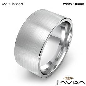 Comfort Flat Pipe Cut Ring Mens Wedding Band 10mm 14k White Gold 10g 4sz