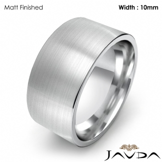 Comfort Fit Flat Pipe Cut Ring Men Wedding Band 10mm 14k White